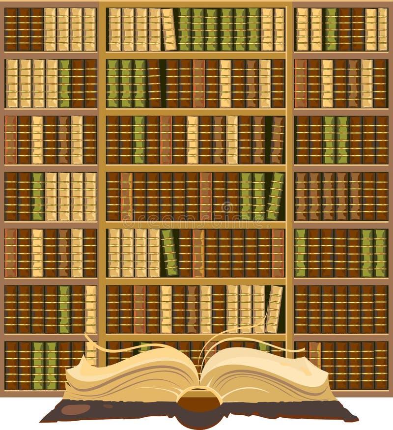 充分书橱旧书 向量例证