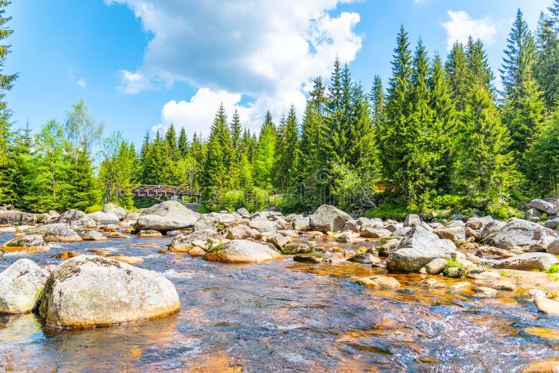 充分伊泽拉河河花岗岩岩石在晴朗的夏日,伊泽拉山脉,捷克 图库摄影