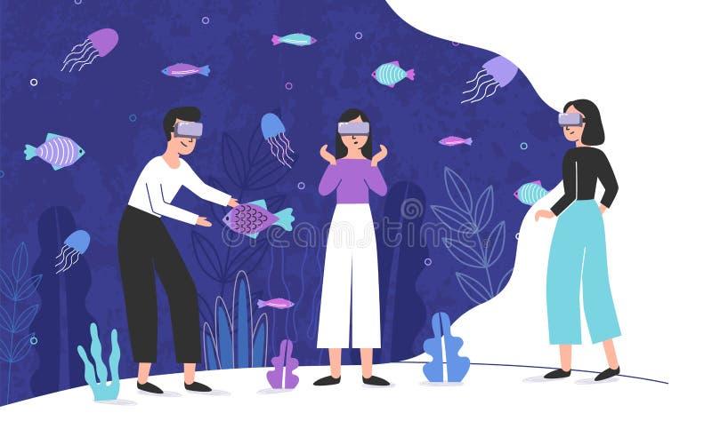 充分佩带虚拟现实玻璃和身分里面巨型水族馆异乎寻常的鱼的三个人 男和女性 皇族释放例证