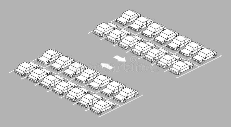 充分停车场有在路的箭头的 向量例证