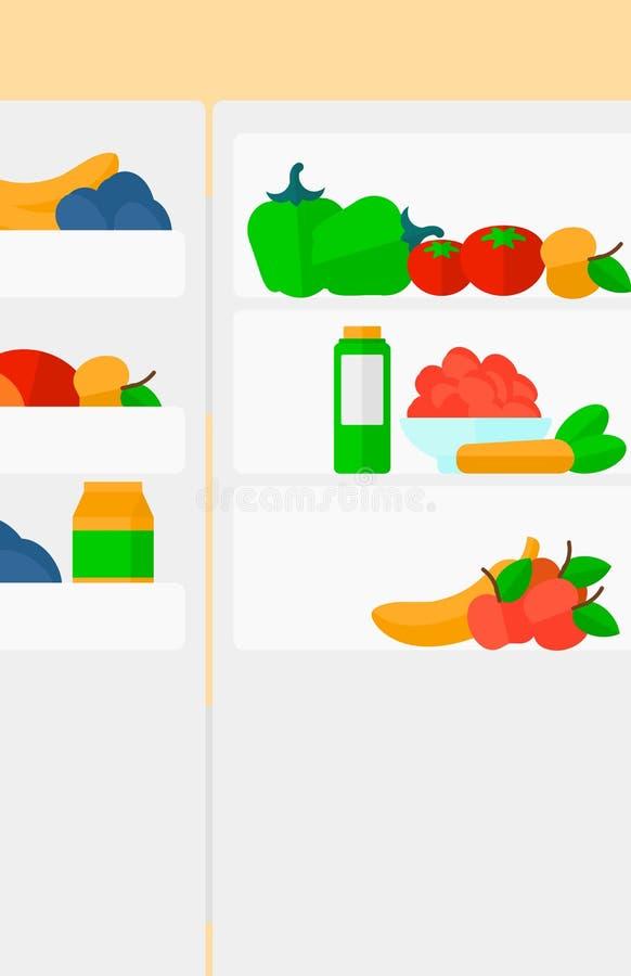 充分冰箱背景水果和蔬菜 库存例证