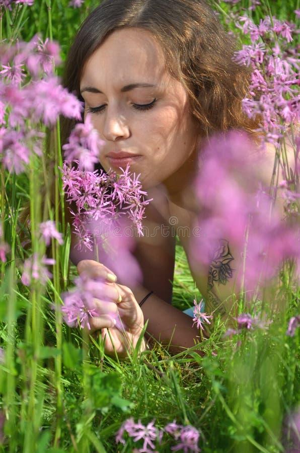 充分华美的草甸的美丽的可爱的女孩野花 免版税库存图片