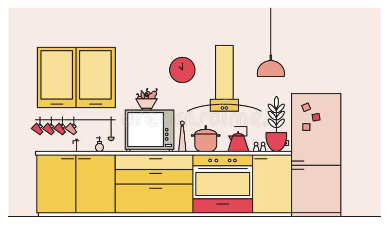 充分厨房时髦内部现代家具,家用电器,炊具,烹调设施,工具 向量例证