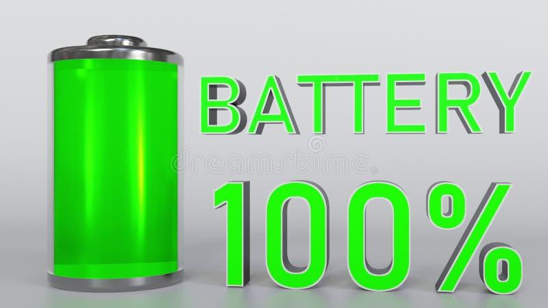 充分地被充电的电池显示, 3D翻译 皇族释放例证