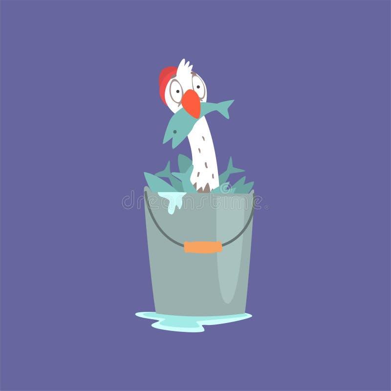 充分坐在桶的滑稽的海鸥鱼里面,逗人喜爱的可笑的鸟字符动画片传染媒介例证 皇族释放例证