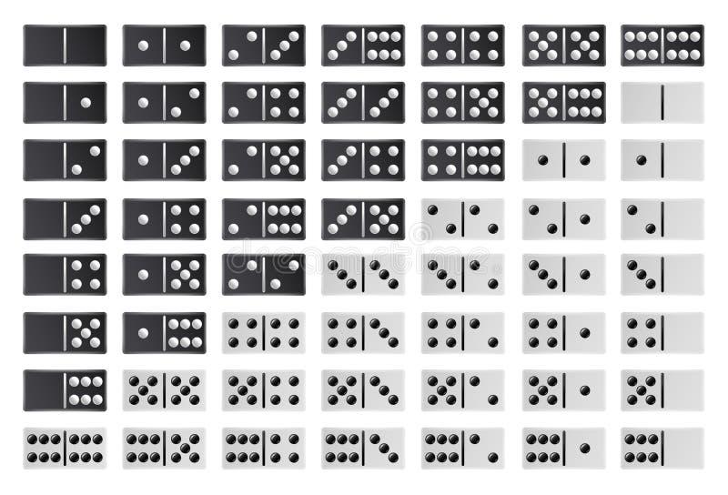充分多米诺大集合传染媒介 黑白颜色 在白色的现实多米诺骨头收藏 28个片断为 向量例证