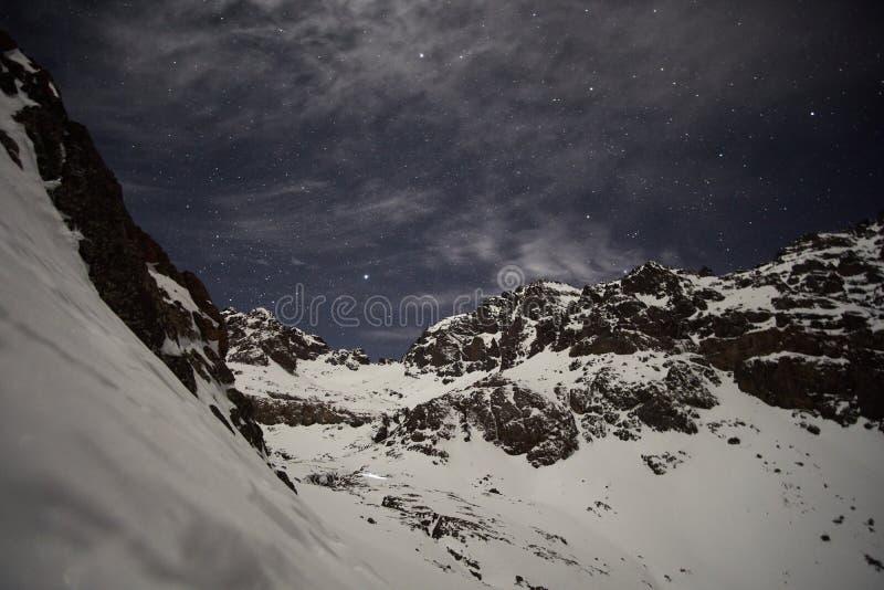 充分天空星在高阿特拉斯山脉 免版税库存照片