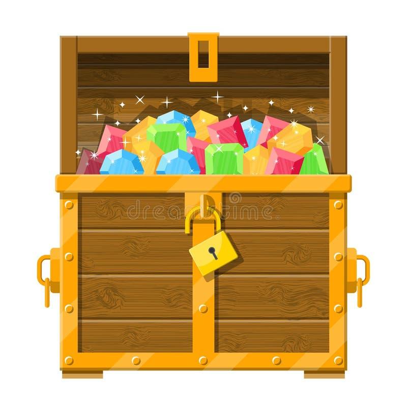 充分宝物箱各种各样的金刚石 皇族释放例证