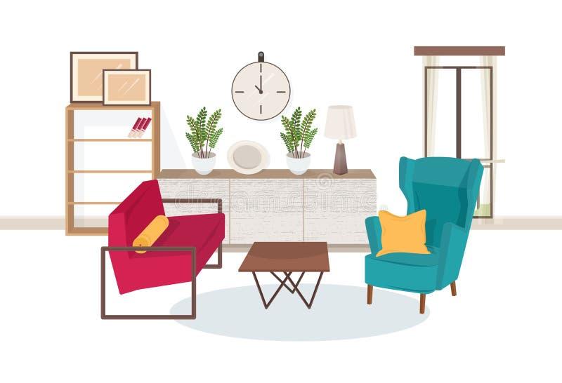充分客厅内部现代家具-舒适的扶手椅子,咖啡桌,搁置与书,室内植物 库存例证