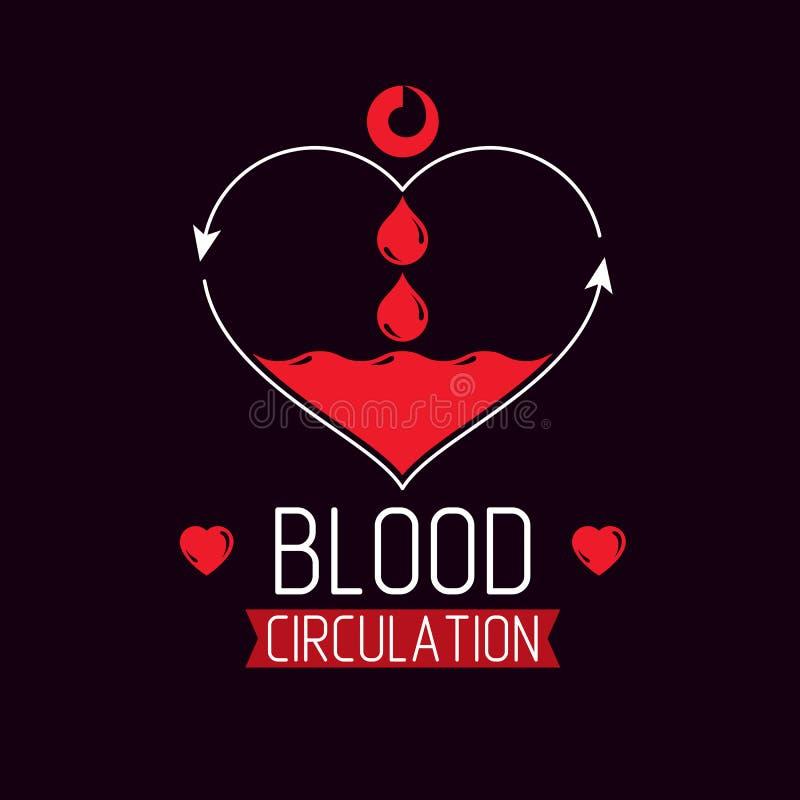 充分导航心脏形状的例证血液组成与a 库存例证