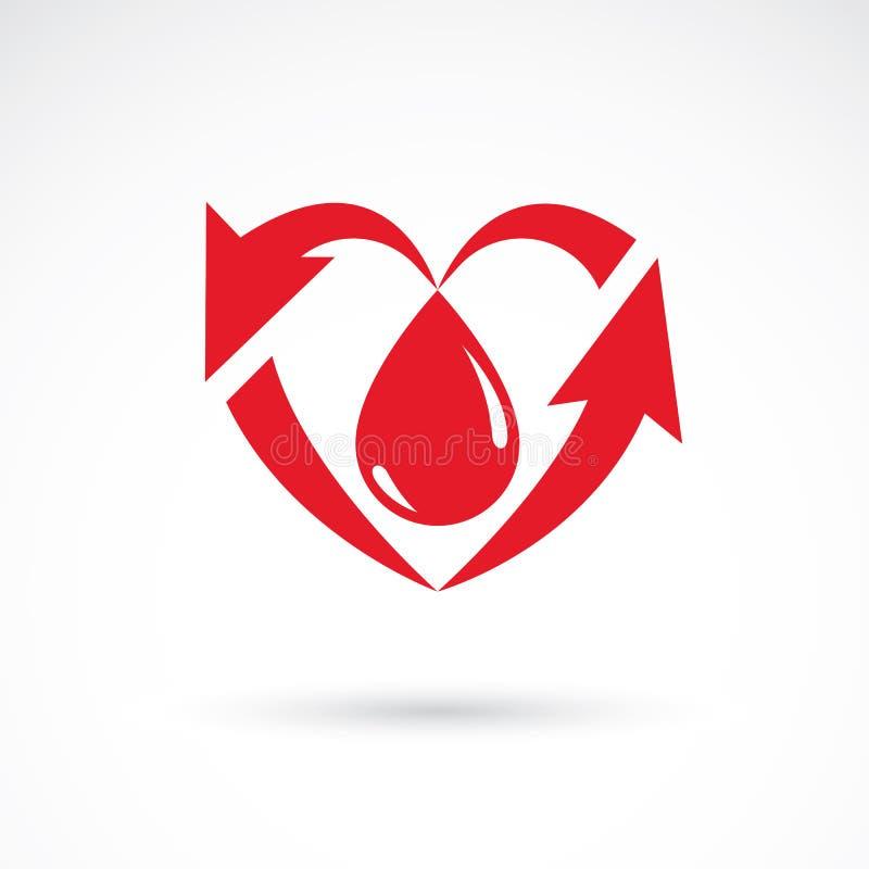 充分导航心脏形状的例证血液组成与a 皇族释放例证