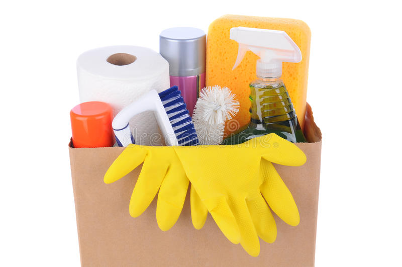 充分布朗袋子清洁物品 库存照片