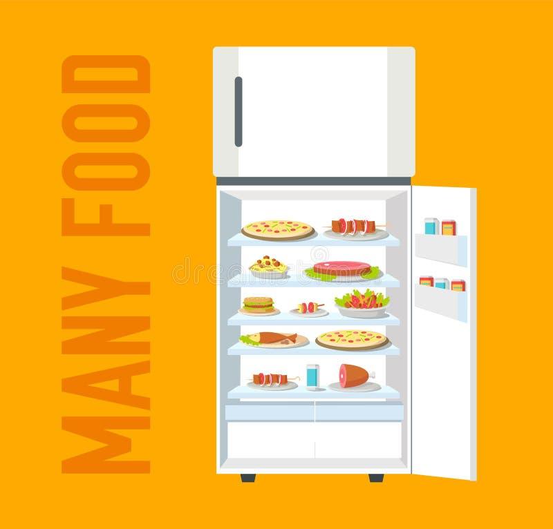 充分平的冰箱许多食物背景概念 传染媒介例证设计 皇族释放例证