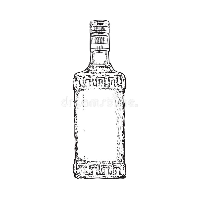 充分手拉的瓶龙舌兰酒,被隔绝的传染媒介例证 皇族释放例证