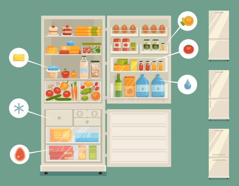 充分打开冰箱新鲜食品 向量例证