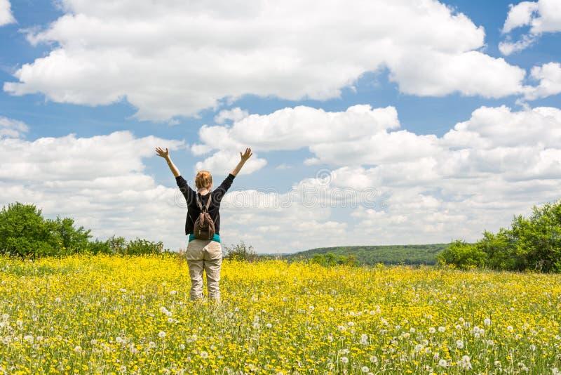 充分投掷她的在美丽的草甸的年轻女人ams身分黄色花 库存图片