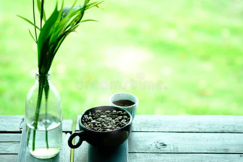 充分杯在木头的咖啡豆与在cof的选择聚焦 图库摄影