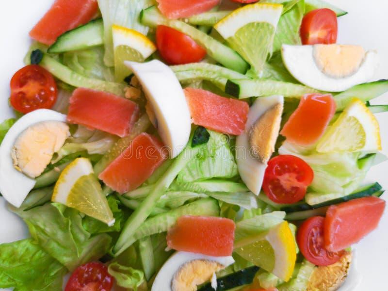 充分板材特写镜头视图与薄荷叶的新鲜的蔬菜沙拉,黄色玉米,蕃茄,金枪鱼服务用水多的柠檬调味汁 库存照片