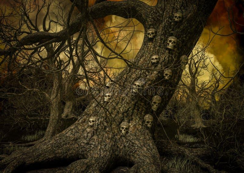 充分树的特写镜头对此的头骨 皇族释放例证
