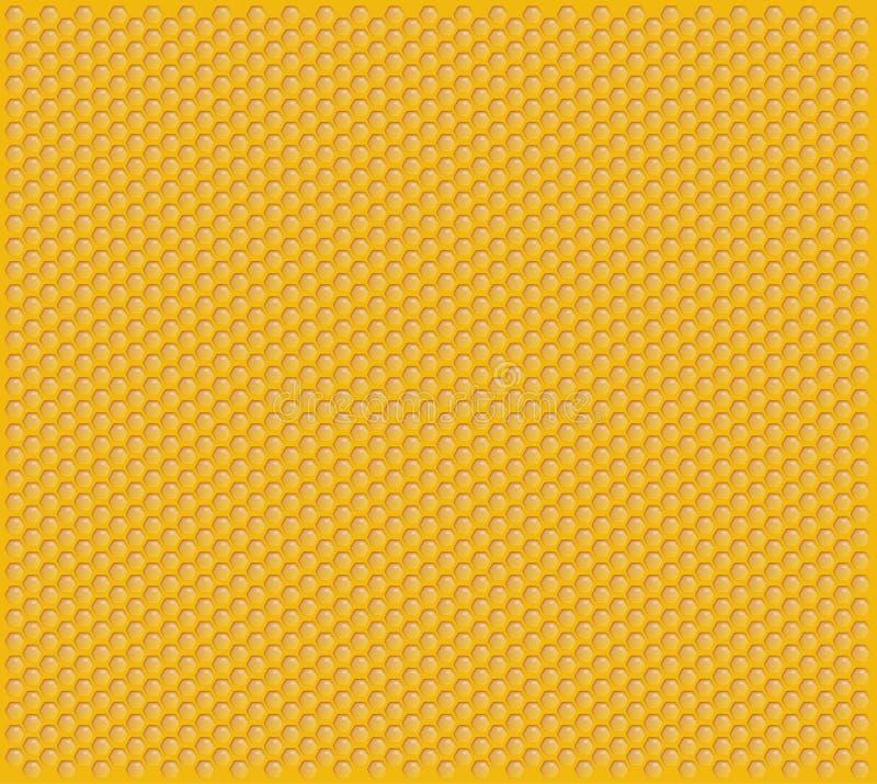 充分橙色发光的蜂窝蜂蜜细胞装饰纹理 库存例证