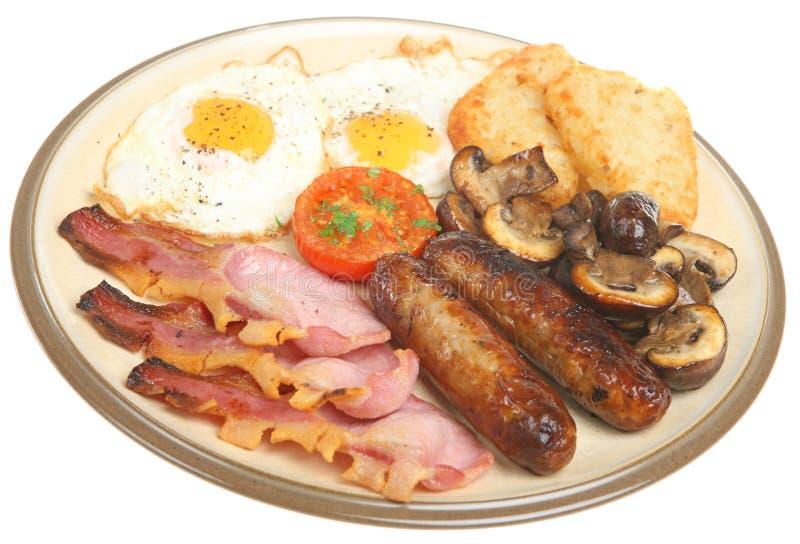 充分油煎的早餐英语 免版税库存照片