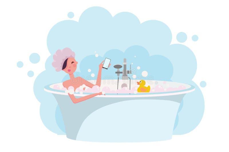 充分洗浴肥皂泡沫的浴帽的女孩 在浴缸的黄色橡胶鸭子 妇女洗在精妙的浴缸的浴 ?? 皇族释放例证