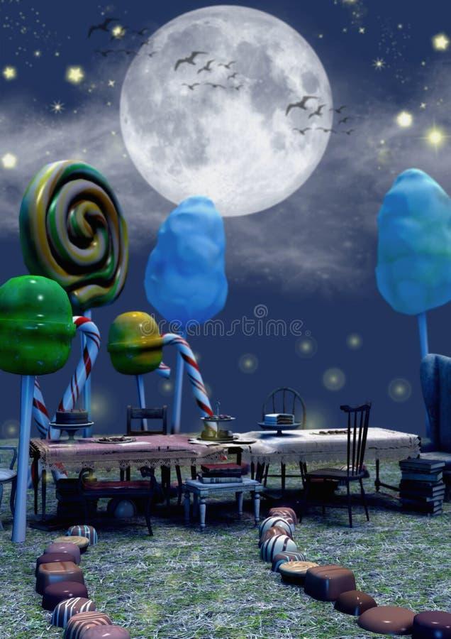充分特写镜头黑暗的童话场面充分桌糖果和蘑菇 皇族释放例证