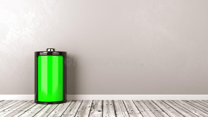 充分电池在木地板上 库存例证