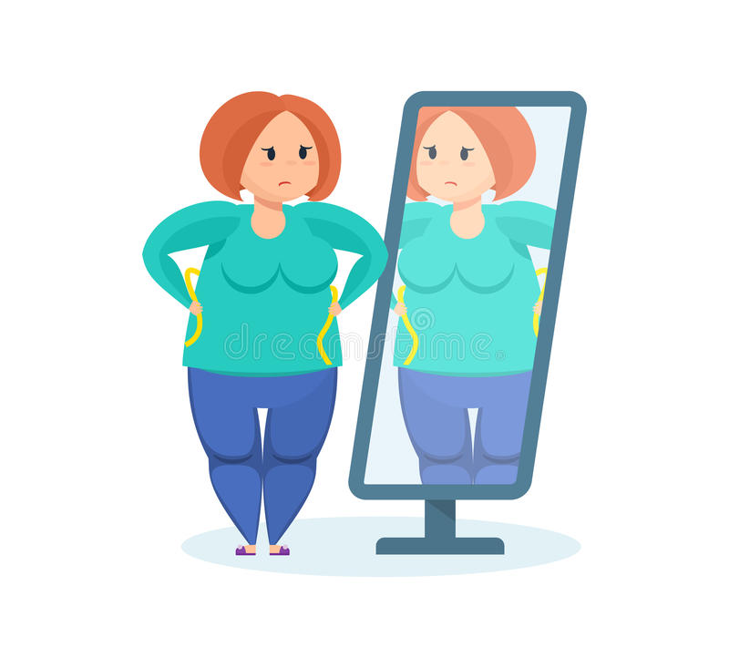 充分的女孩在镜子看,要丢失重量 皇族释放例证