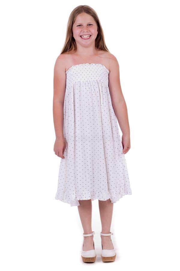 充分的女孩长度微笑的突出新 免版税库存照片