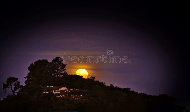 充分的新月在有薄雾的夜 免版税库存图片