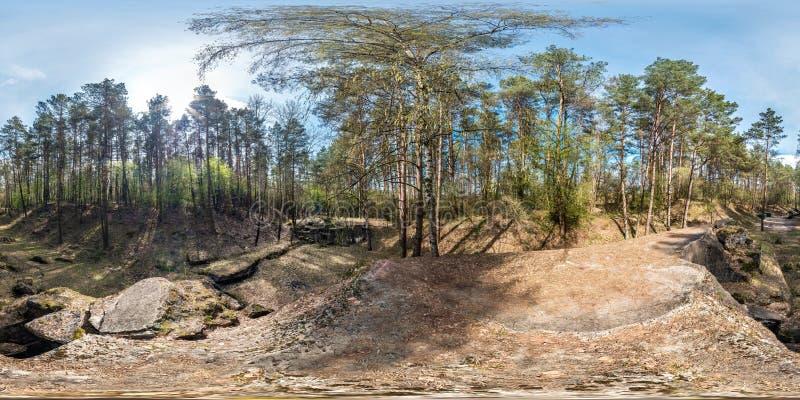 充分的无缝的球状全景360度角度图在杉木森林里破坏了第一次世界大战的被放弃的军事堡垒 免版税库存图片