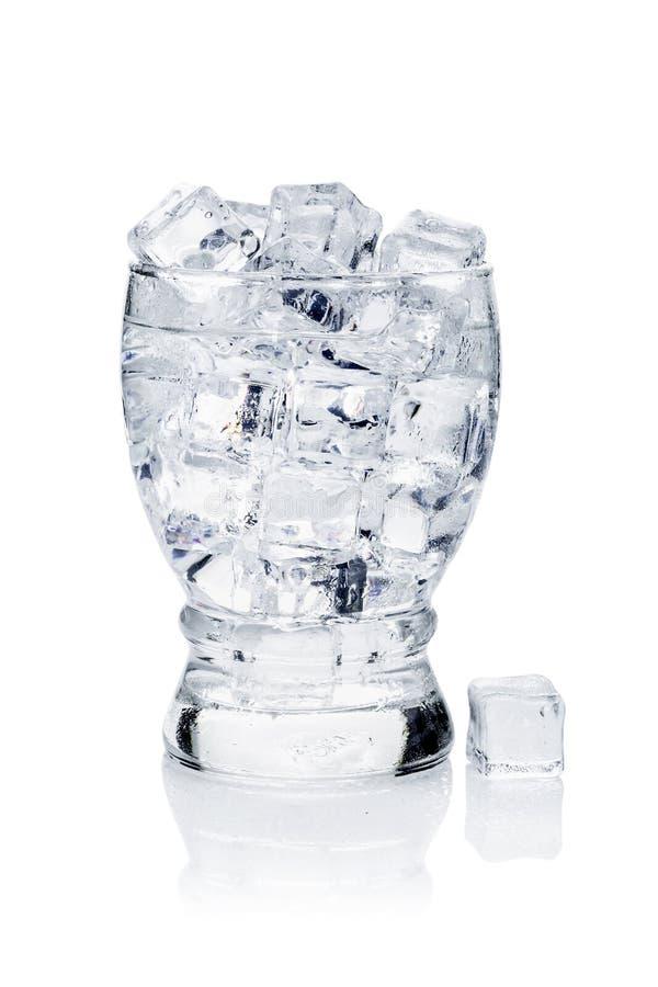 充分的杯与冰的新鲜的凉快的透明水 库存图片