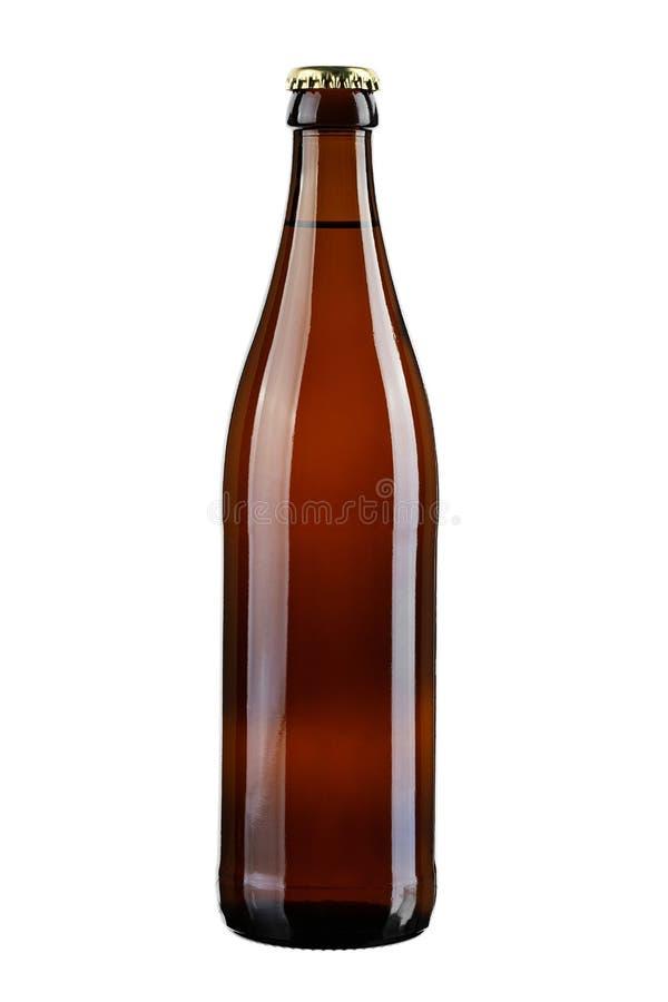 充分的棕色啤酒瓶 库存图片