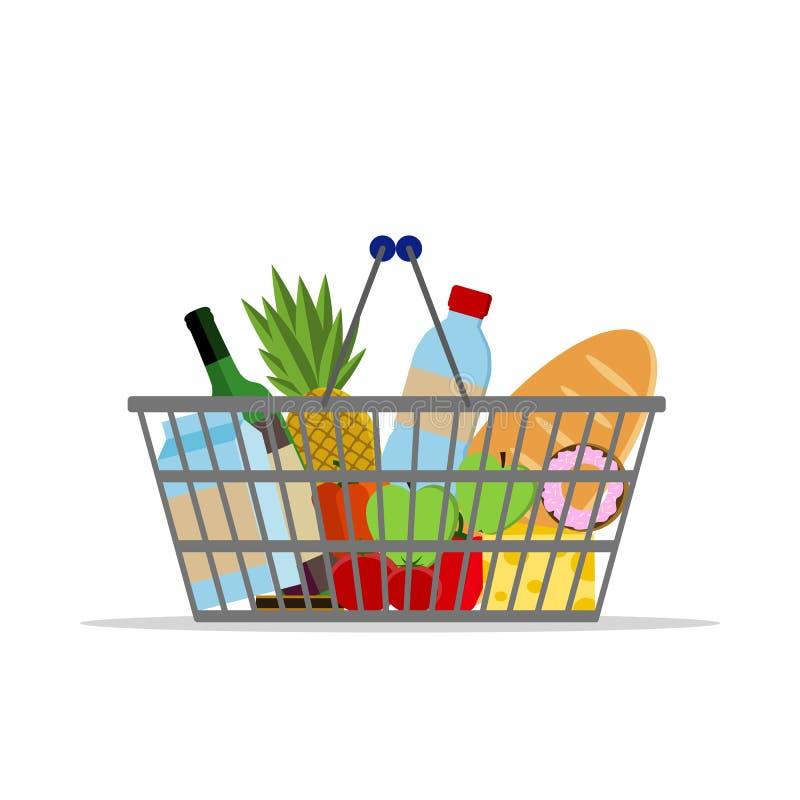 充分的篮子用另外食物 超级市场手提篮 平的传染媒介象 对卡片,网 向量例证