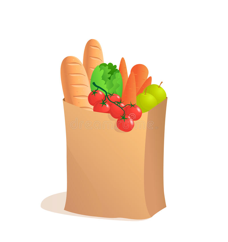 充分的纸袋用食物 在动画片样式的传染媒介例证 副食品 皇族释放例证