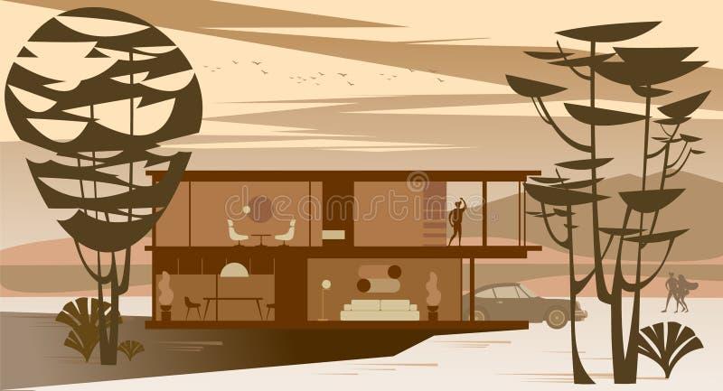 充分的给上釉的村庄背景视图与屋顶平台的在日落的森林里 皇族释放例证