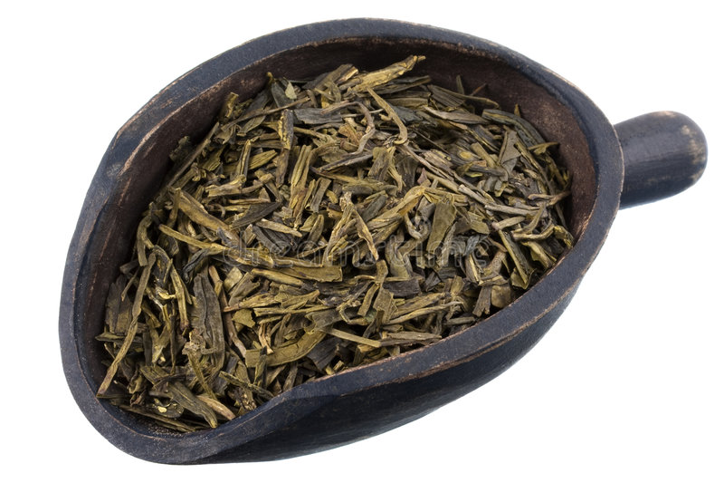 充分的绿色叶子松散瓢茶 免版税库存图片