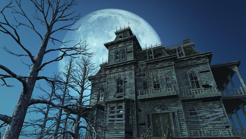 充分的被困扰的房子月亮 向量例证