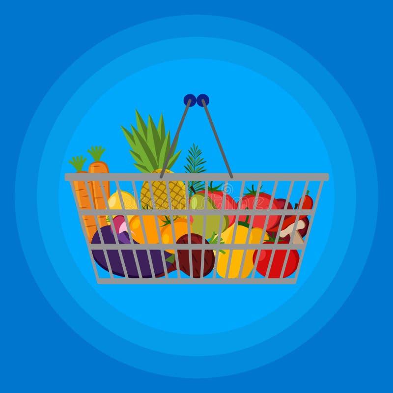 充分的超级市场手提篮用另外食物 平的传染媒介象 对卡片,网,象,购物 向量例证