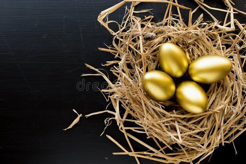 充分筑巢在黑背景的金黄鸡蛋 美元财务女孩暂挂装箱乐趣成功 免版税库存照片