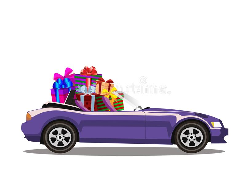 充分紫罗兰色现代动画片敞蓬车汽车被隔绝的礼物盒 皇族释放例证