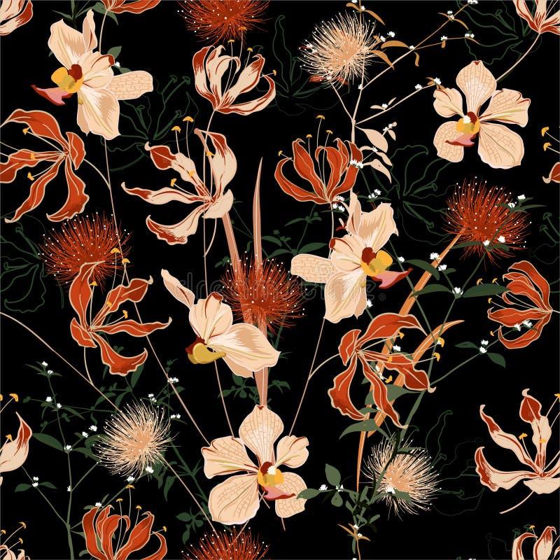 充分美丽的夏夜狂放的森林在许多的开花的花种类花卉无缝的样式传染媒介,手绘画风格为 库存例证