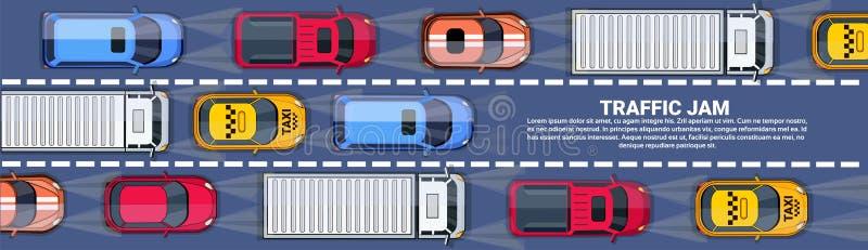 充分路汽车和卡车油罐顶部角钢视图在高速公路水平的横幅的交通堵塞与拷贝空间 向量例证