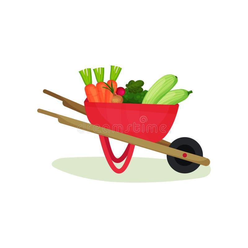 充分金属独轮车成熟菜 自然和鲜美食物 有机农产品 平的传染媒介设计 库存例证