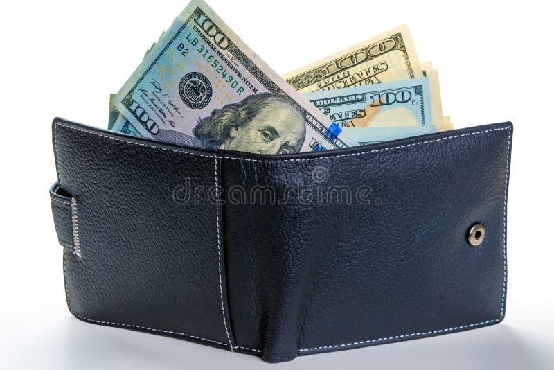 充分黏附在一个皮革钱包外面的美国美元 库存照片