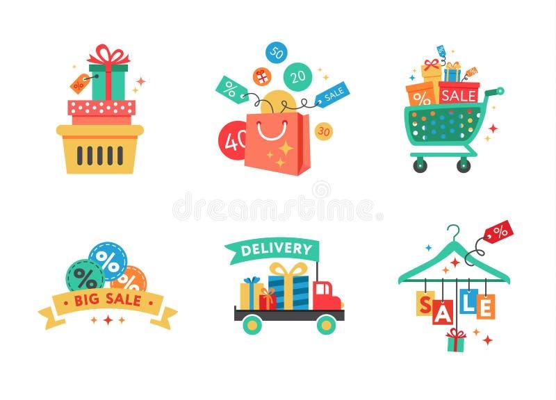 充分购物车的汇集购物袋 向量例证
