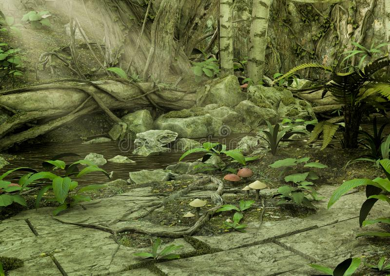 充分Fantasy湖狂放的植被 皇族释放例证