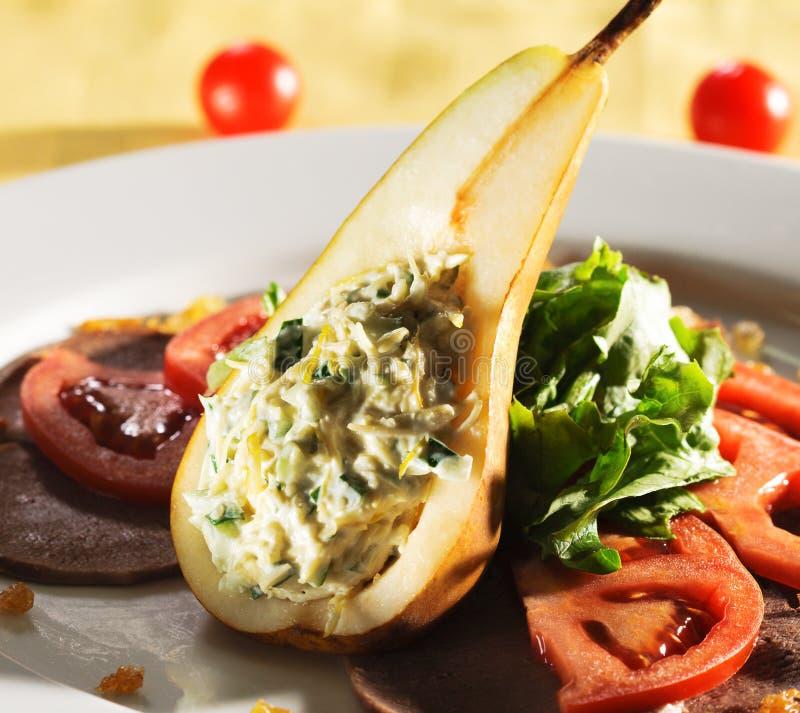 充塞蔬菜的梨沙拉 免版税图库摄影