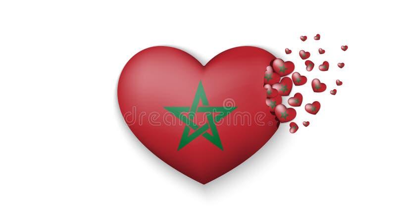 充满对摩洛哥国家的爱 摩洛哥的国旗飞行在白色背景的小心脏 库存例证